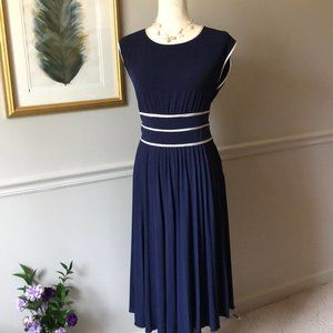 Max and Cleo Navy Dress w/ Cream Satin Trim - EUC!